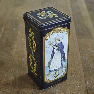 ブリキ缶/フタ付き/四角/黄色いお花/ヴィンテージ
