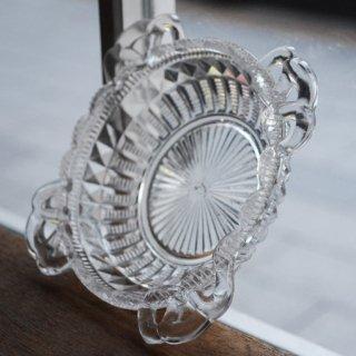 ガラス小皿/カッティング/フチ飾り付き/日本