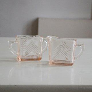 ピンクガラス/ミルクピッチャー&シュガーポット/2個セット/カナダ