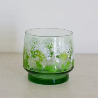 緑ガラスコップ/白花プリント