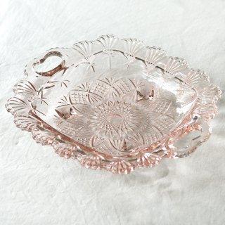 日本製/持ち手つきガラス大皿/ヴィンテージ食器/推定昭和30年代