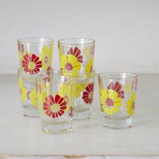 花柄ショットグラス2個セット/ガラス/レトロ