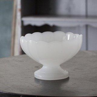 白ガラス/足付き器/ヴィンテージ食器