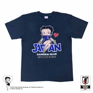 【生産終了品】【Betty Boop×侍ブルー】Tシャツ サッカー日本代表ver.(メトロブルー)S  BB