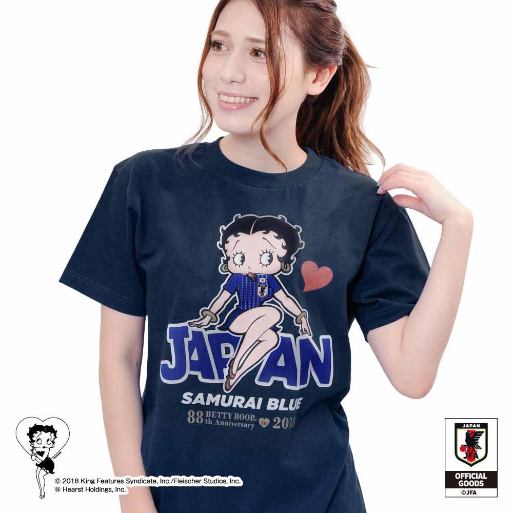 【Betty Boop×侍ブルー】Tシャツ サッカー日本代表ver.(メトロブルー)L  BB