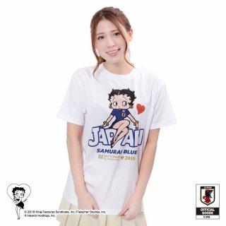 【生産終了品】【Betty Boop×侍ブルー】Tシャツ サッカー日本代表ver.(ホワイト)S  BB