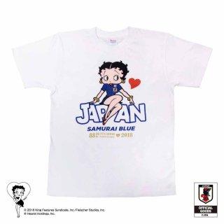 【生産終了品】【Betty Boop×侍ブルー】Tシャツ サッカー日本代表ver.(ホワイト)M  BB