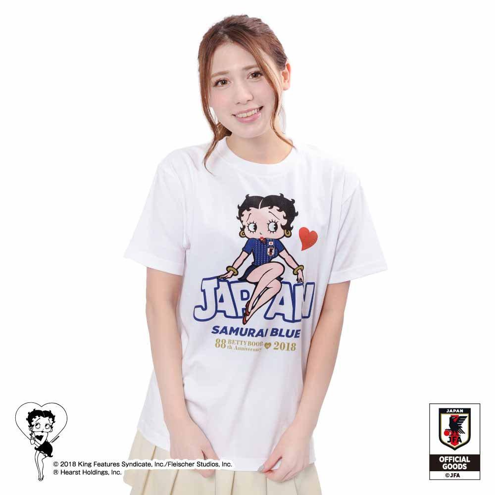 【Betty Boop×侍ブルー】Tシャツ サッカー日本代表ver.(ホワイト)XL  BB
