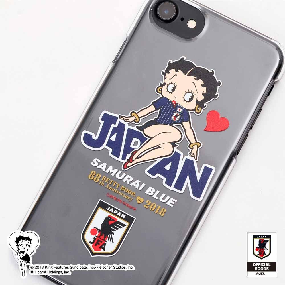 【Betty Boop×侍ブルー】iPhone6/6s/7/8対応スマホケース(サッカー日本代表ver.) BB