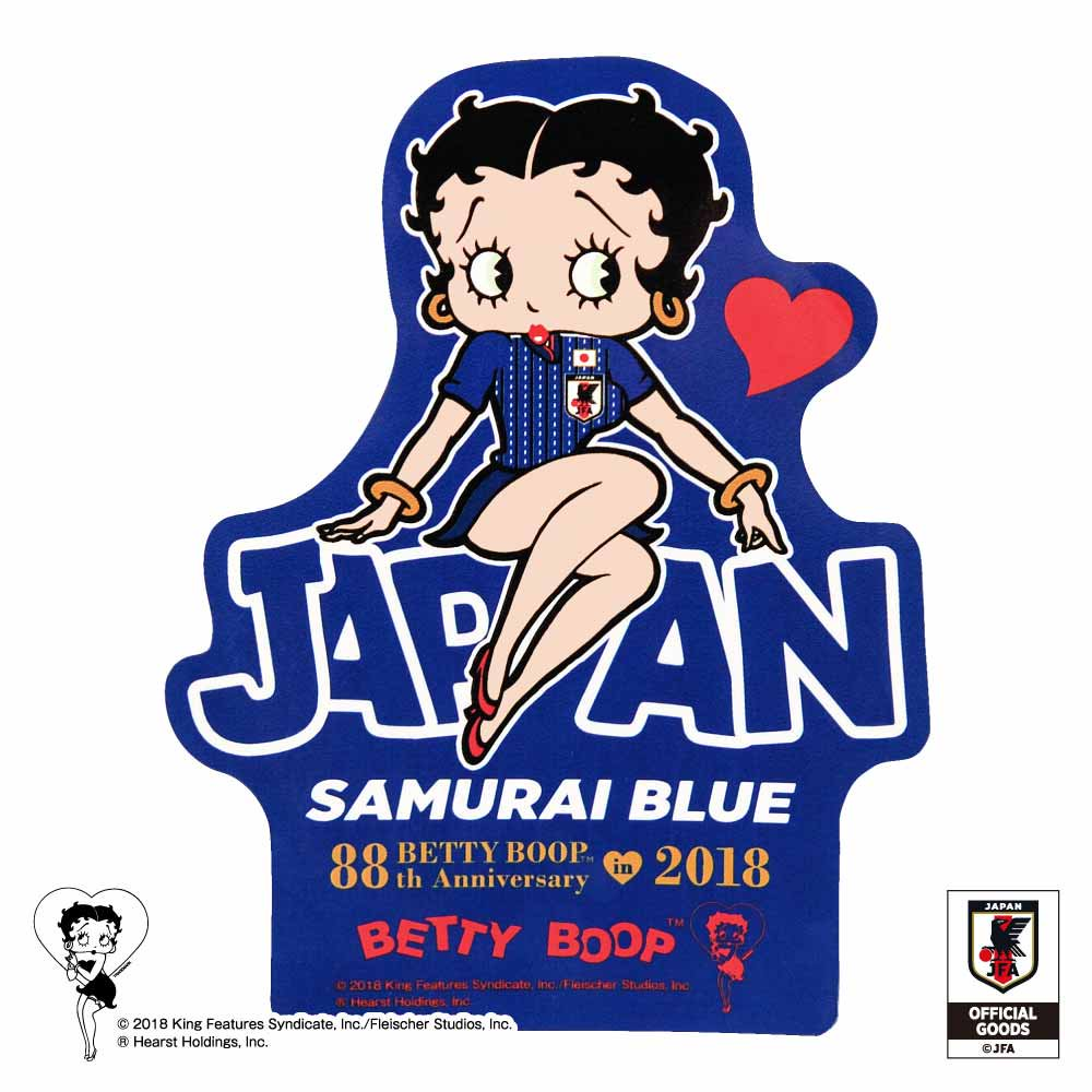 <img class='new_mark_img1' src='//img.shop-pro.jp/img/new/icons11.gif' style='border:none;display:inline;margin:0px;padding:0px;width:auto;' />【Betty Boop×侍ブルー】ステッカー(サッカー日本代表ver.) BB