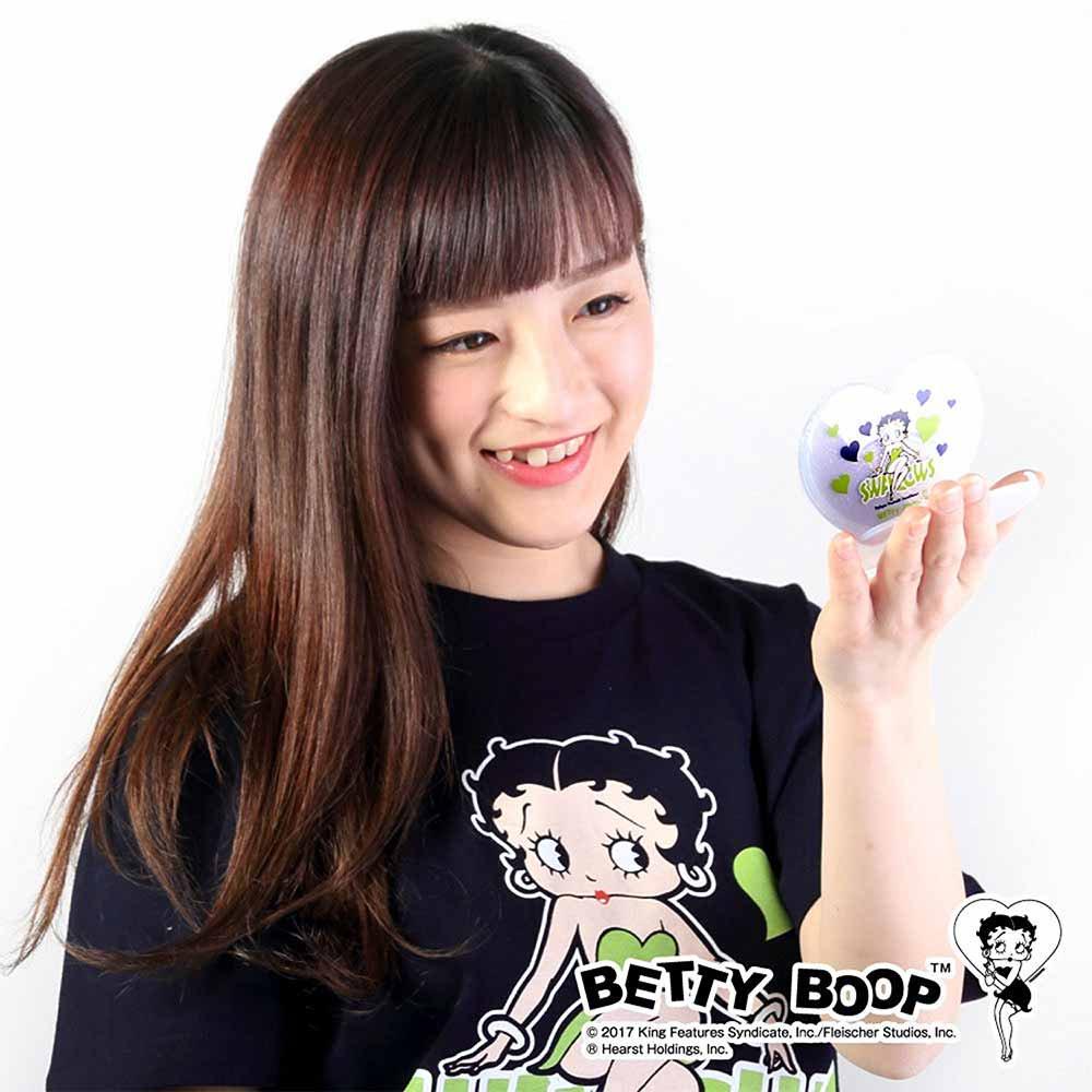 【生産終了品】BETTY BOOP×スワローズ ハート型ミラー(ネイビー×グリーン)BB