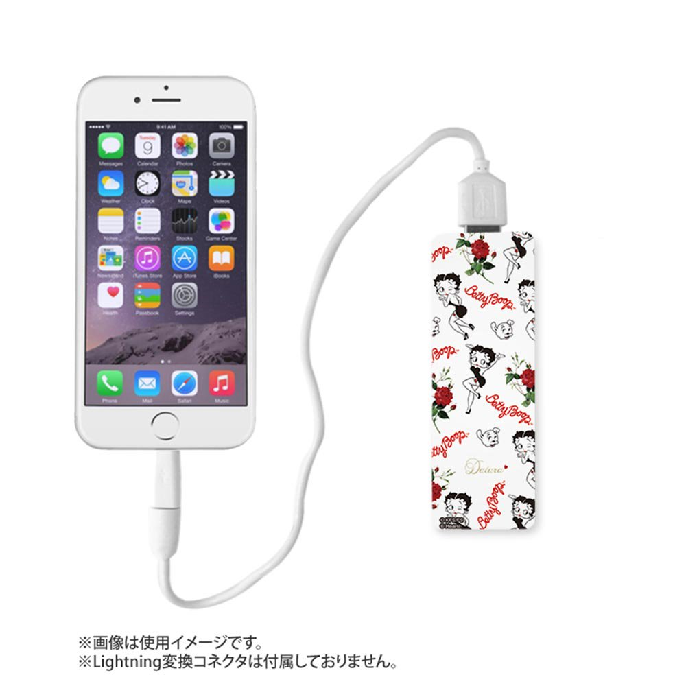 <img class='new_mark_img1' src='https://img.shop-pro.jp/img/new/icons11.gif' style='border:none;display:inline;margin:0px;padding:0px;width:auto;' />【DaTuRa×Betty Boop×Gizmobies】モバイルバッテリー(SITTING ON A ROSE)ホワイト OD-0360-FREE BB