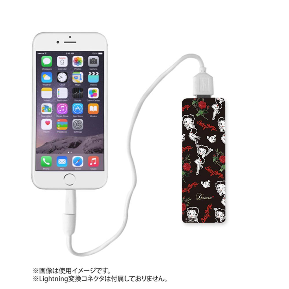 <img class='new_mark_img1' src='https://img.shop-pro.jp/img/new/icons11.gif' style='border:none;display:inline;margin:0px;padding:0px;width:auto;' />【DaTuRa×Betty Boop×Gizmobies】モバイルバッテリー(SITTING ON A ROSE)ブラック OD-0361-FREE BB