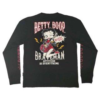 【THE BRAVEMAN×BETTY BOOP】RIB付き天竺ロンTEE(ブラック)XL BBB-2035 BB