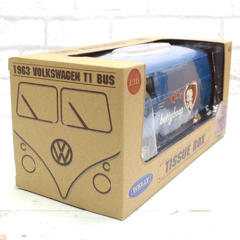 小物入れにも★車型ティッシュケース (ブルー/ホワイトロゴ)BT-WVTC-004 BB