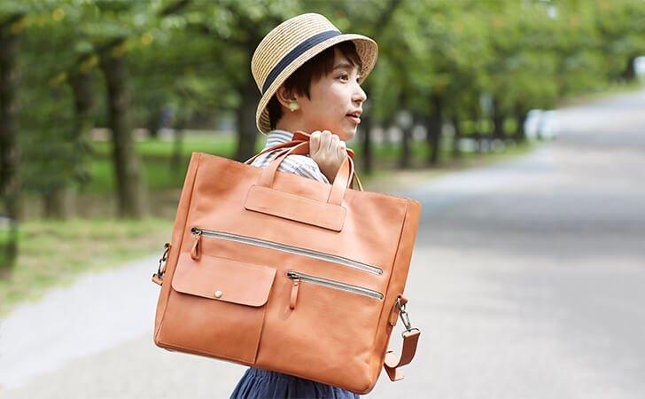 人気の本革3Wayバッグ。裏地と名入れ、革プリントでオリジナルのビジネスバッグ