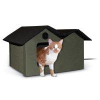 【猫 ハウス】 K&H Manufacturing サーモキティハウス 超ワイド(複数猫対応)オリーブ&ブラック:64×55×40cm 20W