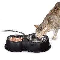 【屋外用 猫 ヒーター付き食器】 サーモキティカフェ 屋外用 ヒーター付き ペット用食器 350ml/700ml ステンレス/ブラック 30ワット