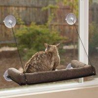 【猫 窓用ベッド】 K&H Manufacturing ウィンドウソファー イージーマウント(簡易取付型) 枕付 デラックス チョコレート 58×30cm