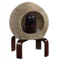 【モダン キャットファニチャー】 キャット スペース ポッド 猫用ベッド/ハウス ナチュラルシーグラス 高さ57.5cm 自然素材