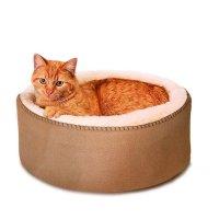【犬 猫 ベッド】 K&H Manufacturing サーモキティベッド (ヒーターなし) スエード調 4猫・小型犬