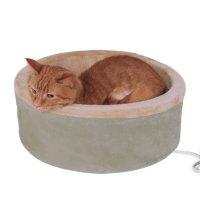 【犬 猫 電気ベッド】 K&H MFG ラウンド電気ベッド 4ワット サーモスタット付き セージ Mサイズ MET認証済