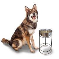 6/7入荷予定【犬 食器】  スタンド付き ステンレス製 シングル ペットディッシュ 中型犬 - 大型犬 高さ37cm 容量1.8L