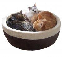 【犬 猫 電気ベッド】 K&H MFG ラウンド電気ベッド 4ワット サーモスタット付き モカ Lサイズ MET認証済