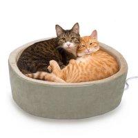 【犬 猫 電気ベッド】 ラウンド電気ベッド 4ワット サーモスタット付き セージ L