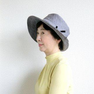 360.リボン通しのある帽子 杢グレー