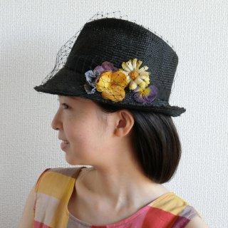 273. 黒いお花のハットベール付