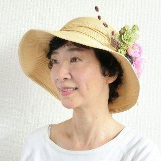 347. たためる麦わら帽子×ピンクのお花