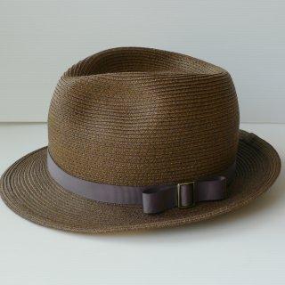 211.茶色の中折れ帽 紫の細リボンにバックル