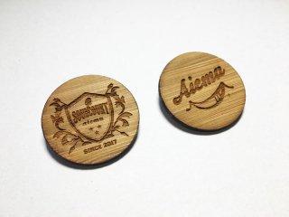 AIEMU 竹挽板 Bambooバッチ Aiemuロゴ/SOUL COURTロゴ 2個セット