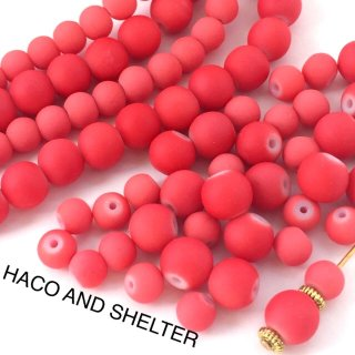 Coral pink☆2size・70コ☆ Matte Glass beads