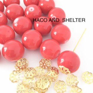 【beads12コ+ Lace20コ】  Coral Red glass beads
