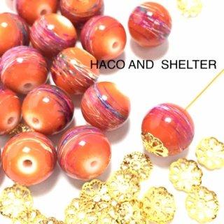 【beads16コ+ Lace20コ】 darkorange glass beads