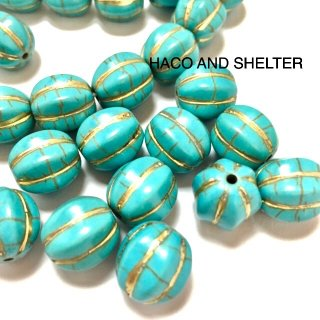 Antique Gold Line Turquoise☆Beads・14コ(加工石)