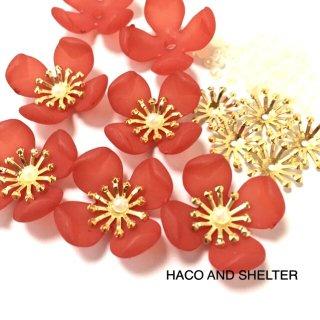 【花芯&プチパール付】各12コ☆elegance petal・red(計36コ)