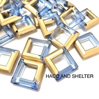 half gold clear blue・16コ☆Acrylic beads