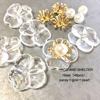clear pansy・16set(48pcs)☆acrylic beads