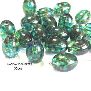 lushly green glass beads☆30pcs