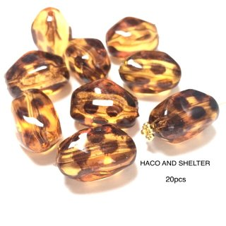 leopard amber・20pcs★acrylic clear beads