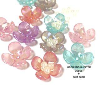 candy petal+petit pearl★30pcs(acrylic beads)