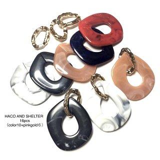 【16pcs】big color oval+pinkgold link
