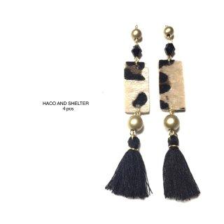 leopard+tassel swing/black★4pcs