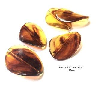 amber beads/twist oval★12pcs