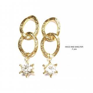 4pcs★double gold+crown diamond