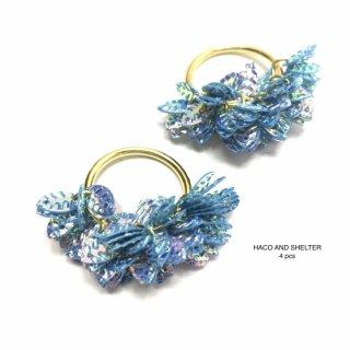 4pcs★frill leaf・cyan blue(PVC)