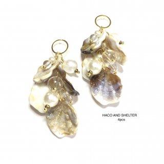4pcs★latte・imitation shell charm(acrylic)